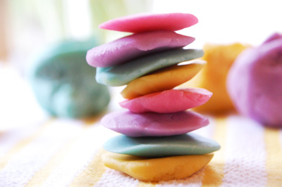 Homemade rainbow play dough by TinkerLab