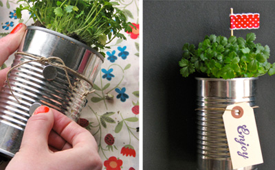 Strawberry can planters by One Charming Party