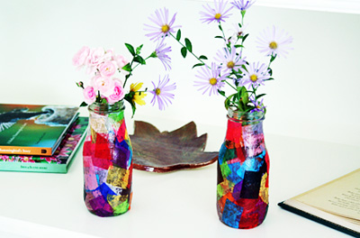 Tissue paper vases by Let's Explore