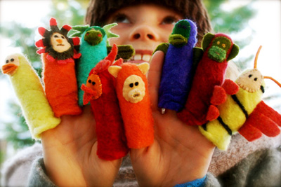Homemade finger puppets by Whip Up