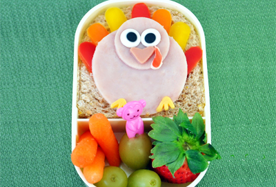 Thanksgiving turkey bento box by Crouching Mother, Hidden Toddler