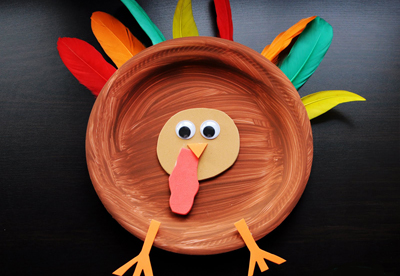 Thanksgiving paper plate turkey by Meet the Dubiens