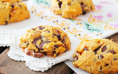 Thanksgiving pumpkin toffee chip and Rolo chunk cookies by Picky Palate