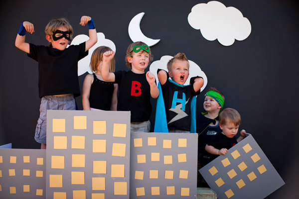 Kids' superhero birthday party by Domestic Charm
