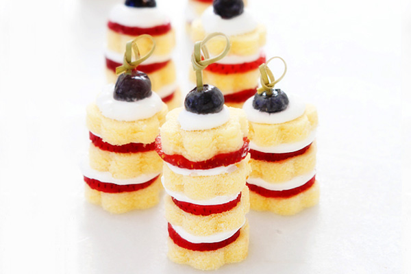 4th of July strawberry shortcake stacks by Bakers Royale