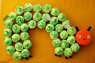 """The Very Hungry Caterpillar"" birthday cupcakes by Coco Cake Cupcakes"