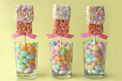 Easter goodies marshmallow crispy pops by Glorious Treats