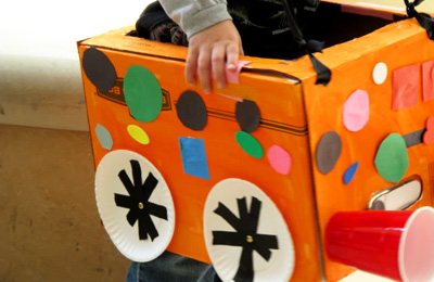 Homemade box cars for kids by Laugh, Paint, Create!