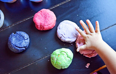 Homemade glitter playdough by The Creative Mama