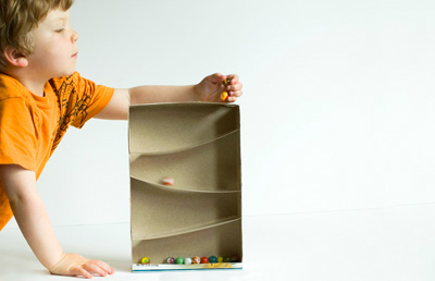 Cereal box marble run for kids by Made By Joel