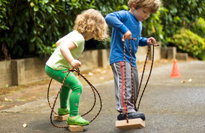 Homemade wooden stilts for kids by Made By Joel
