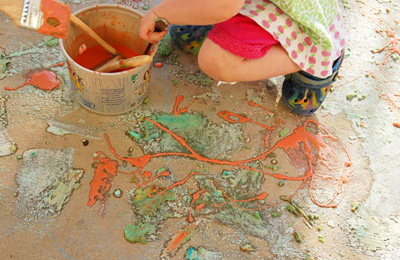 Homemade fizzing sidewalk paint by Quirky Momma