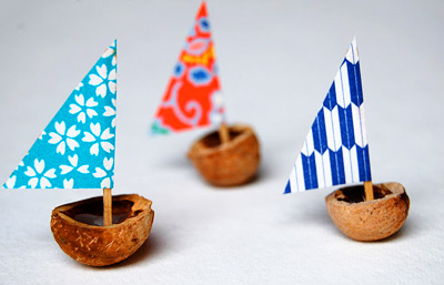 Homemade nut sailboats for kids by Crow Roosters Crow