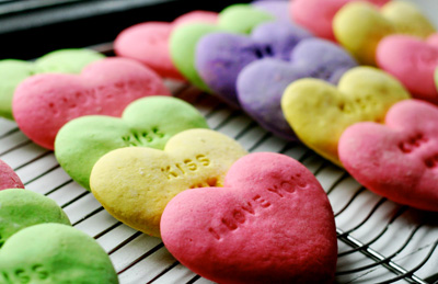 Valentine's Day conversation heart cookies by Kelsey's Kitchen