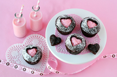 Valentine's Day heart cut-out cupcakes by Glorious Treats