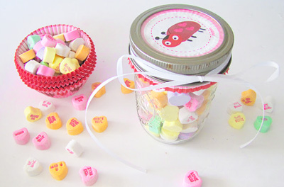 Valentine's Day goody jars by Free Pretty Things for You