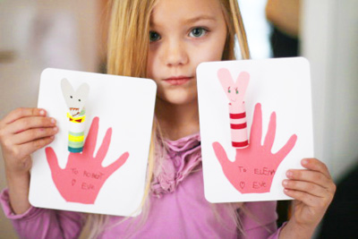 Finger puppet Valentine's Day cards by Katie Did