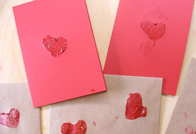 Potato print Valentine's Day cards by Mom in Madison