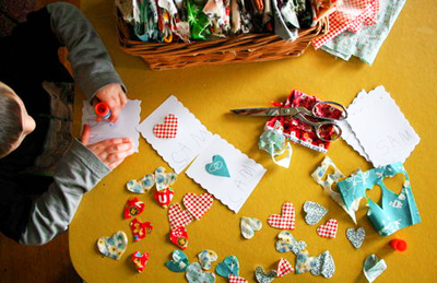 Homemade scrap fabric Valentine's Day cards by All Buttoned Up