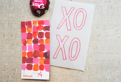 Homemade color theory Valentine's Day cards by Mer Mag