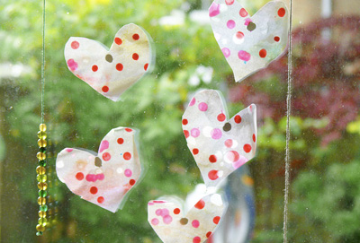 Wax painted Valentine's Day hearts by Here We Are Together