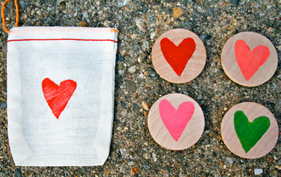 Valentine's Day heart magnets by Red Bird Crafts