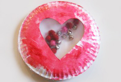 Valentine's Day paper plate shaker by No Time for Flashcards