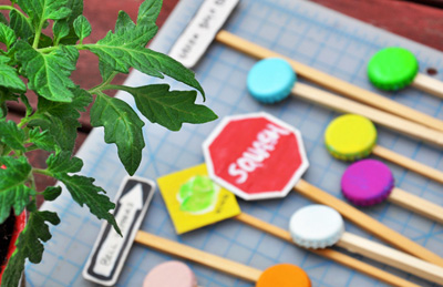 Homemade garden markers by Imagine Childhood