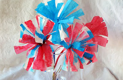 4th of July coffee filter firework flowers by Crafts By Amanda