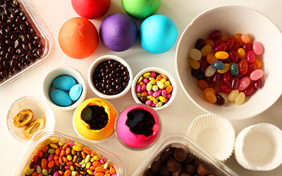 Candy-filled Easter eggs by Not Martha