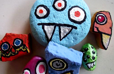 Homemade rock monsters by Little Pink Studio