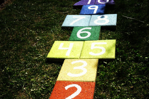 Outdoor Party Games for Kids Hopscotch Rainbow Paver Stone