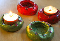 Clay tea light candle holders by Mom in Madison