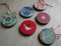 Homemade Christmas ornaments by Quince and Quire