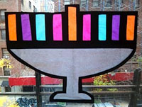 Menorah stained glass craft by Upper West Side Mom