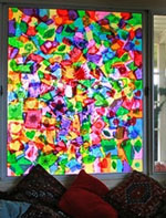 Tissue paper holiday stained glass by Filth Wizardry