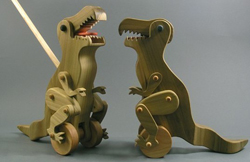 Eco-friendly T. Rex push toy by Arks and Animals on Etsy