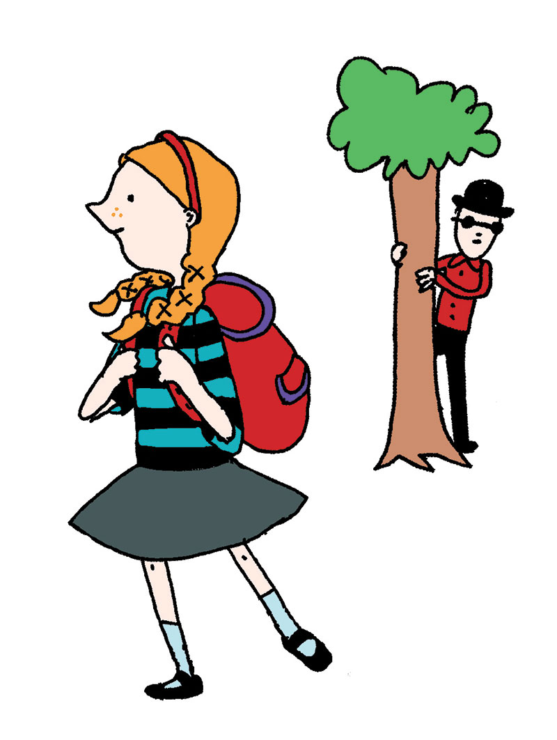 girl walking man stalking by alli arnold illustrations