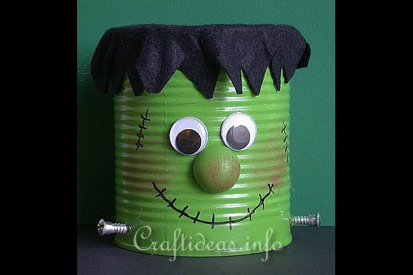 Halloween Decorations and Crafts for Kids DIY Frankenstein Can