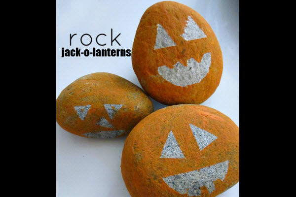 Halloween Decorations and Crafts for Kids Pet Rock Jack o Lantern