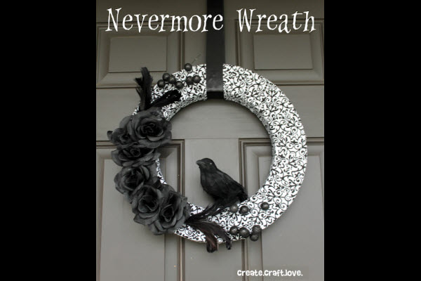 halloween decorations and diy crafts for kids nevermore raven black wreath - Cute Halloween Decorations Homemade