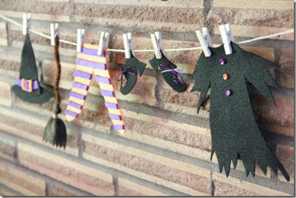 halloween decorations and diy crafts for kids witches laundry line garland - Halloween Decorations Witches