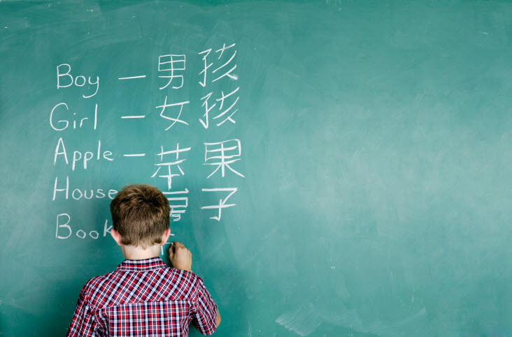 boy learning chinese writing on a chalkboard