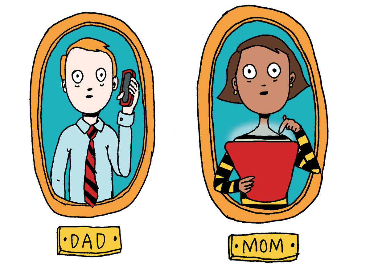 Scared parents monitoring on apps by alli arnold illustrations