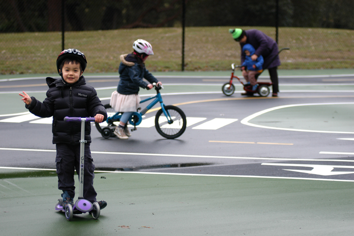 Joseph Grygiel, 5, rides a scooter at the White Center Bike Playground. Photo credit: JiaYing Grygiel