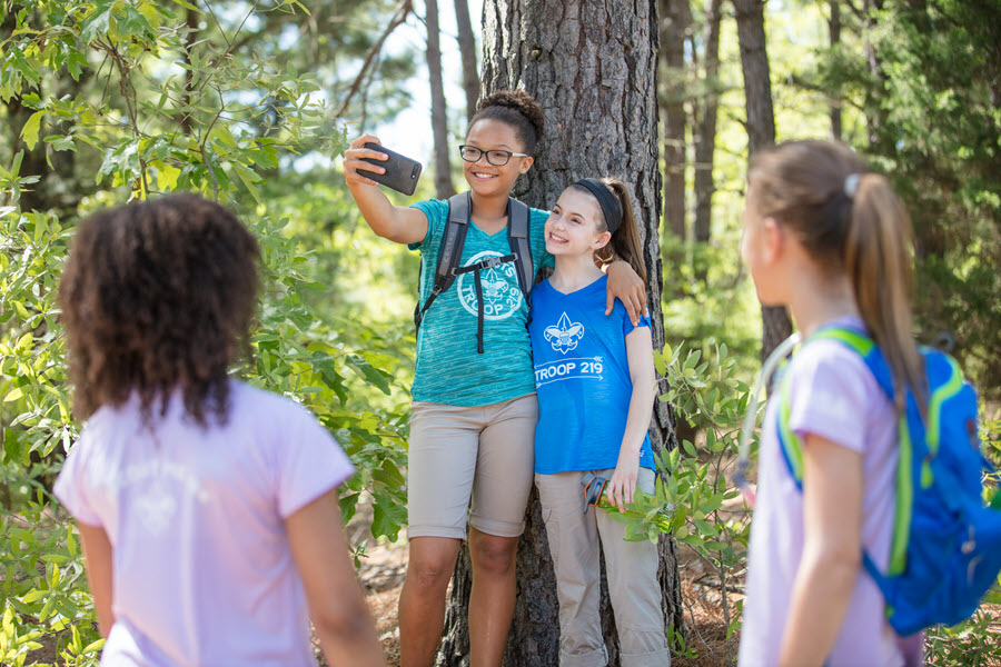 Seattle Scouts BSA participants take a selfie out in nature