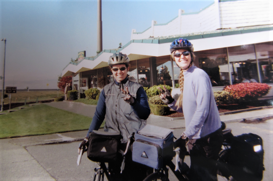 Christina Uss and Nancy Chaney on a bike trip