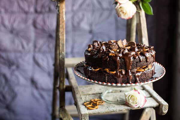 Fudgy One Bowl Chocolate Peanut Butter Cup Pretzel Cake