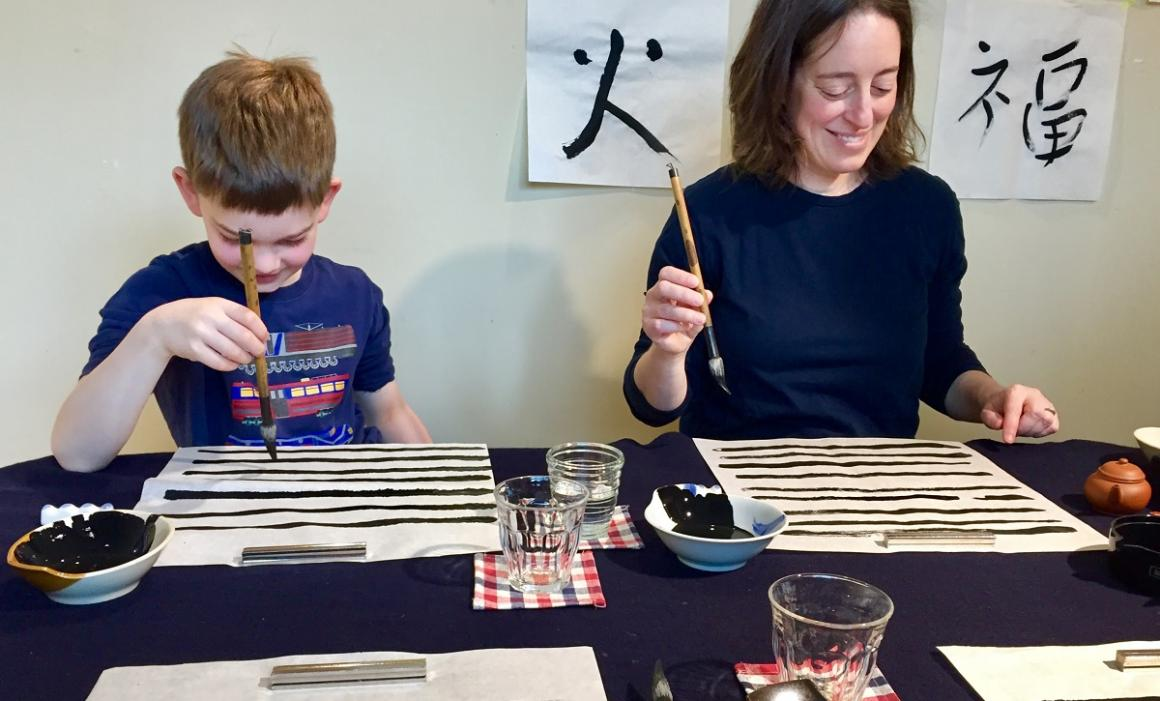 Japan-sensory-family-kids-travel-destination-mom-son-calligraphy-class