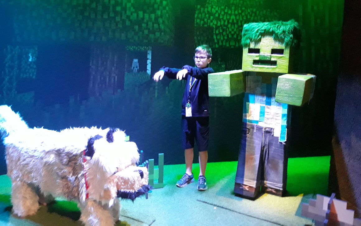 Minecraft-characters-wolf-zombie-with-young-visitor-mopop-exhibit-review
